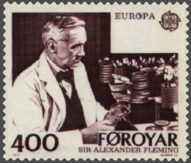 Facts about Alexander Fleming - Faroe Island stamp