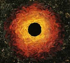 Rowan leaves laid around hole is one of the example of Andy Goldsworthy artwork