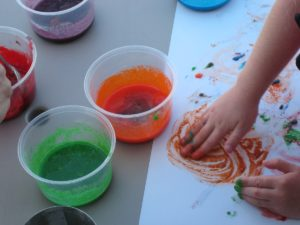 Finger paint using Jell-O