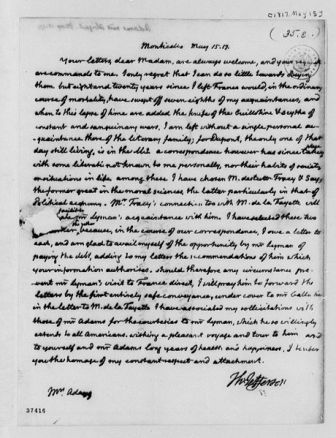 Facts about Abigail Adams - Letter from Thomas Jefferson to Abigail Adams
