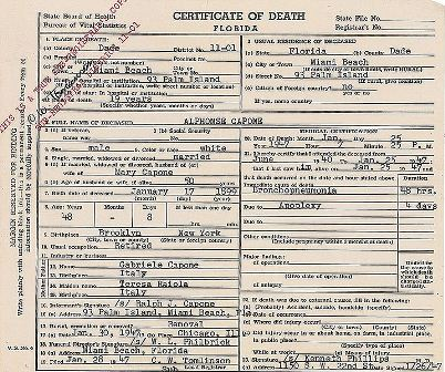Facts about Al Capone - Certificate of Death
