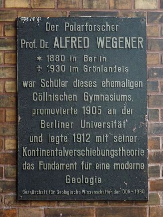 Facts about Alfred Wegener - Commemoration plaque