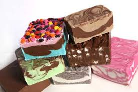 The different flavors of fudge (chocolate fudge, peanut butter fudge, clotted cream fudge, vanilla fudge, penuche fudge, maple syrup fudge, salted caramell fudge, honeycomb fudge, and butter's cotch fudge)