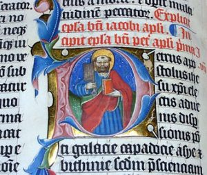 The illuminated letter P in the Malmesbury Bible.
