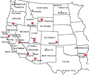 The locations of Japanese internment camps