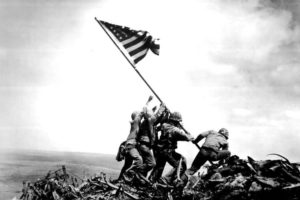The six marines who raised the flag on Iwo Jima island